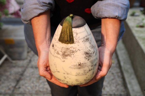 Boites ovoïdes en raku nu